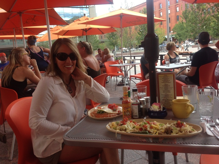 Outdoors at Snooze, with Huevos Rancheros and Breakfast Tacos!